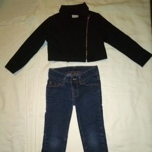 Size 4t cropped jacket and 4t skinny jeans